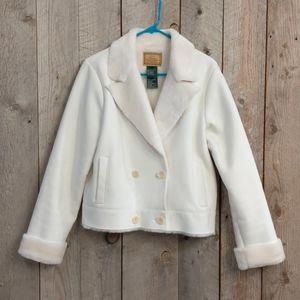 Ralph Lauren white suede fur double breasted coat